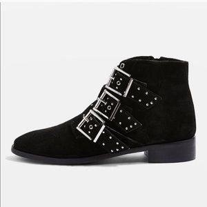 Topshop Krown studded buckle suede black booties